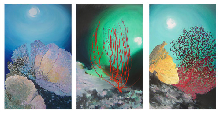 Contemplatif triptych - 150x300 cm. Oil on canvas 2010