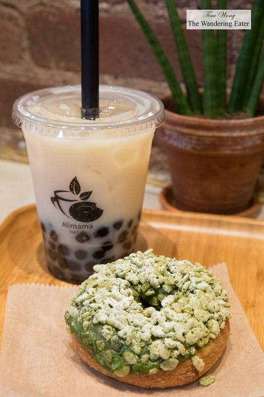 Jasmine mint bubble tea with tapioca and matcha mochi donut