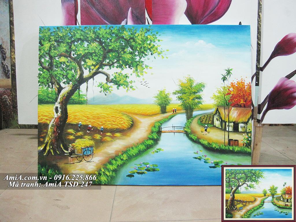 Tranh sơn dầu phong cảnh người nông dân gặt lúa
