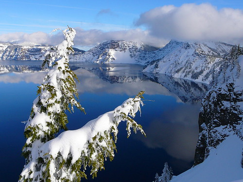 Crater Lake in winter. From What Do You Know About America's National Parks?