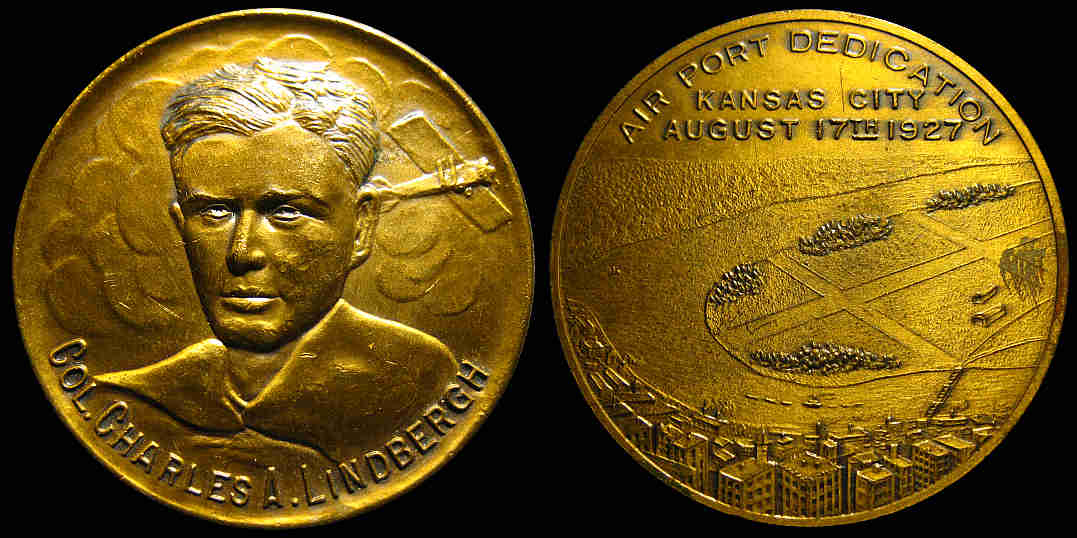 Commemorative medal struck for the dedication of New Richards Field in Kansas City, Missouri, on August 17, 1927.