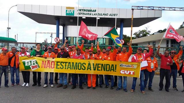 Petroleiros se posicionam contra a venda da Petrobrás - Créditos: Divulgação FUP