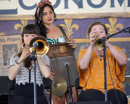 Shake 'Em Up Jazz Band  on Day 5 of Jazz Fest - May 4, 2018. Photo by Bill Sasser.