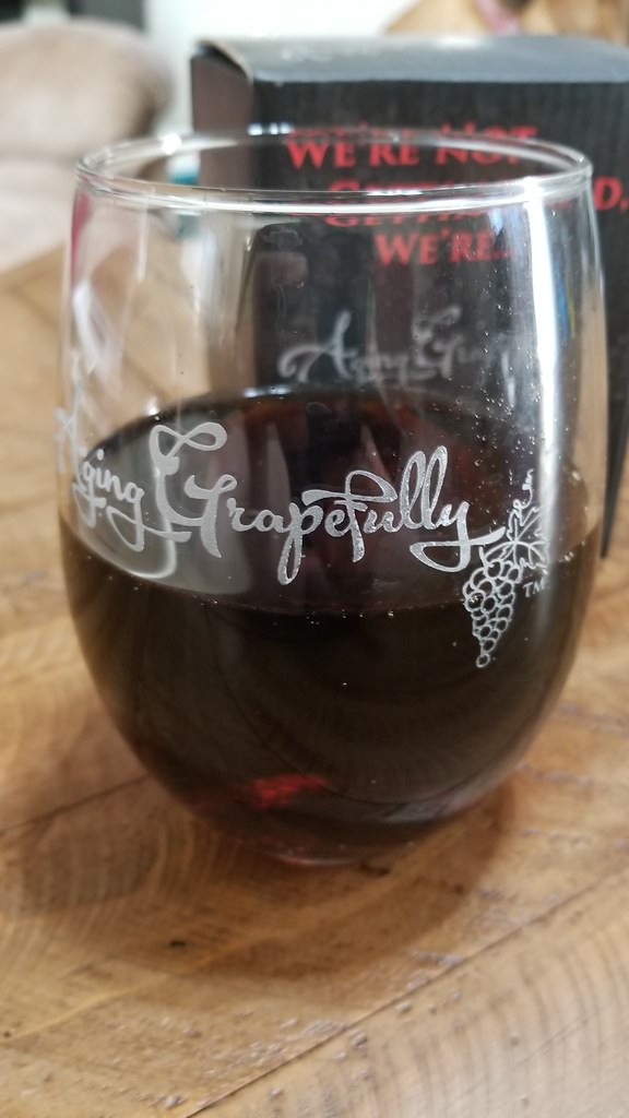 Aging Grapefully Etched Stemless Wine Glass