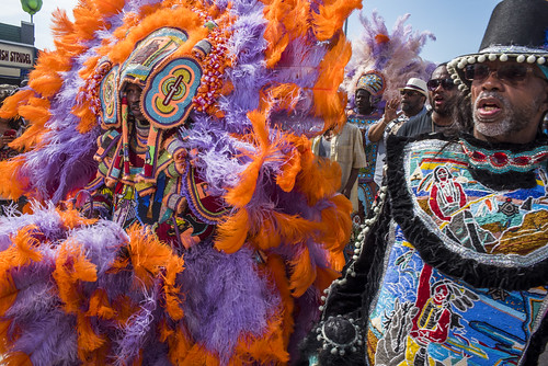 Black Hatchet Mardi Gras Indians during Jazz Fest day 2 on April 28, 2018. Photo by Ryan Hodgson-Rigsbee