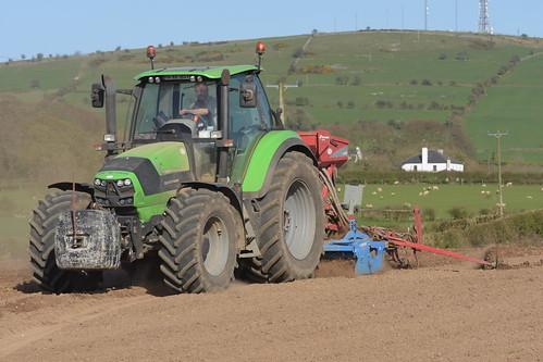 Deutz Fahr Agrotron 6210 C-Shift Tractor with a Lemken Power Harrow & Kvernland S-Drill Seed Drill