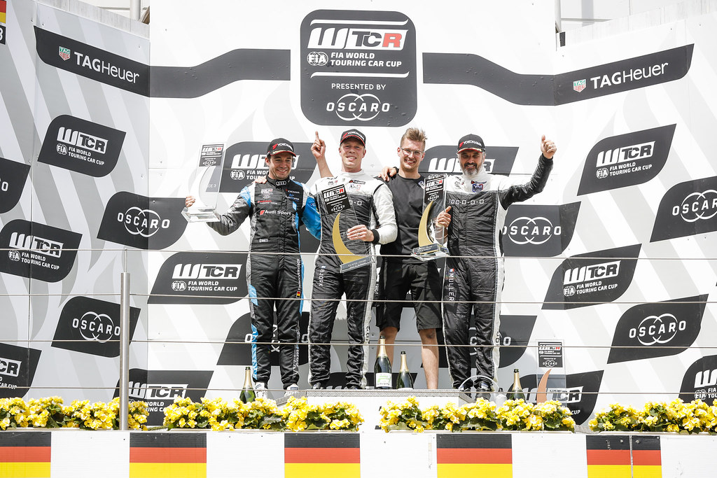 Podium. BJORK Thed (SWE), YMR, Hyundai i30 N TCR, VERVISCH Frederic (BEL), AUDI Sport Team COMTOYOU, Audi RS3 LMS, MULLER Yvan (FRA), YMR, Hyundai i30 N TCR, portrait during the 2018 FIA WTCR World Touring Car cup of Nurburgring, Nordschleife, Germany from May 10 to 12 - Photo Florent Gooden / DPPI