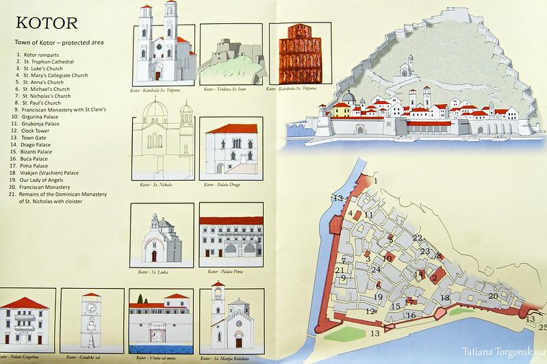 Туристическая карта Старого города в Которе