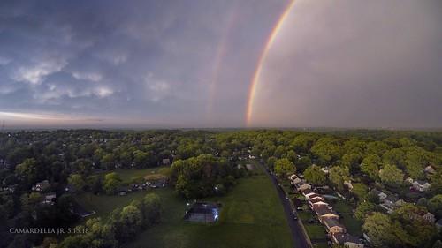 drone aerialphotography rainbow sunset storm cloudsstormssunsetssunrises clouds mammatusclouds aerial spring
