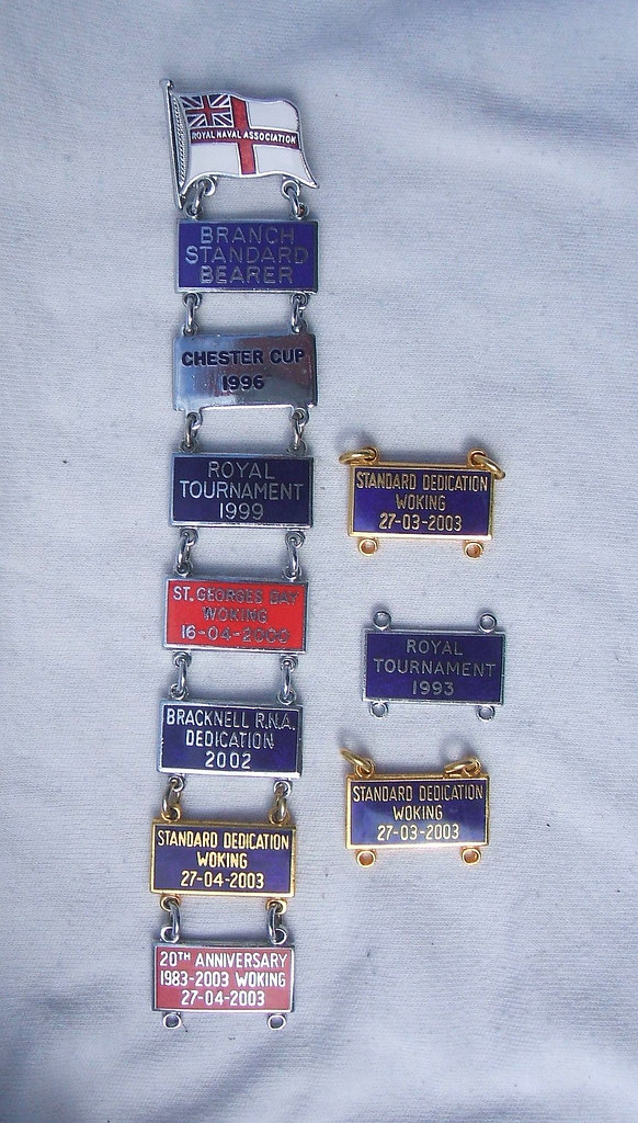 ... Royal Naval Association - Branch Standard Bearer ensign badge with 10  bars (1990's)  