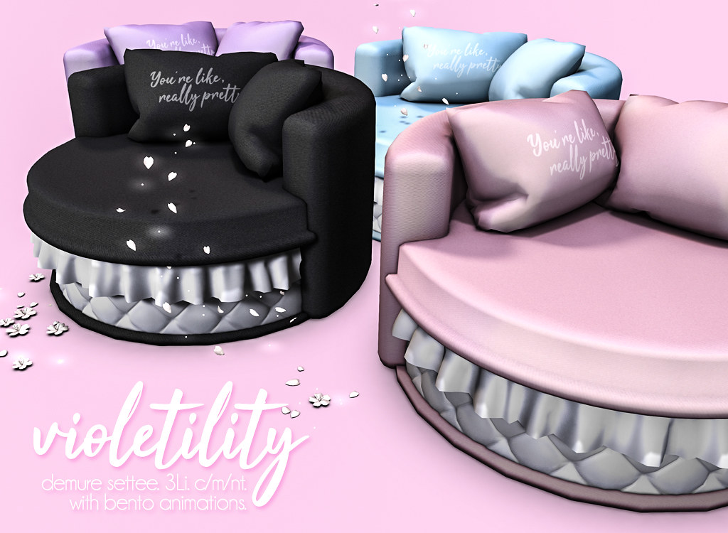 Violetility - Demure Settee - TeleportHub.com Live!
