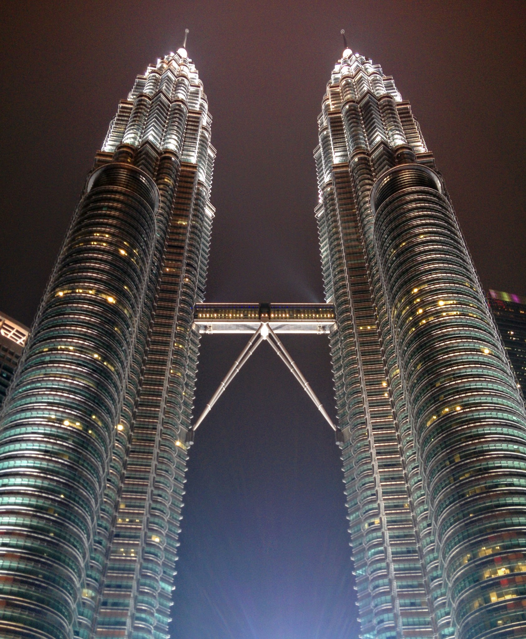 The Petronas towers lit up at night