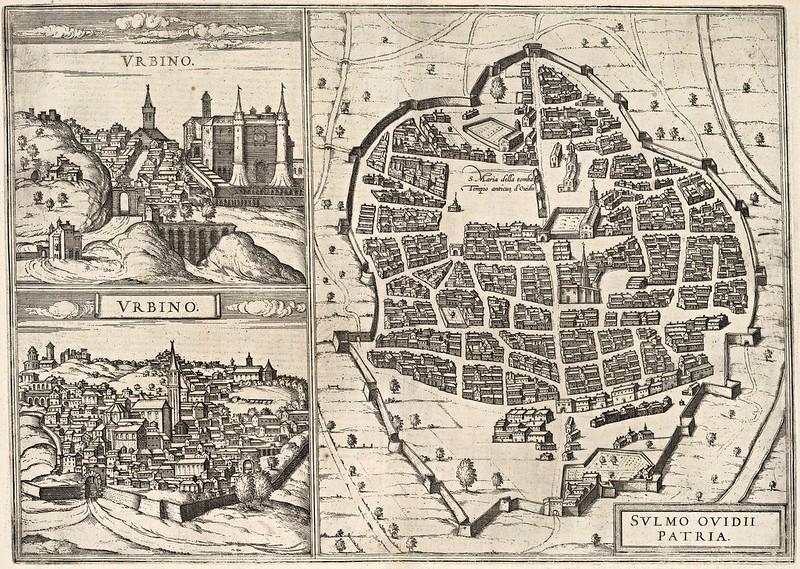 Georg Braun & Frans Hogenberg - Urbino. Sulmo (Sulmona) (1588)