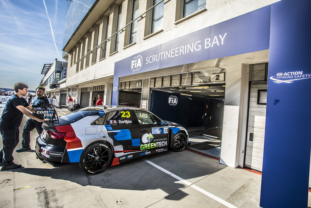 BERTHON Nathanael (FRA), Comtoyou Racing, Audi RS3 LMS, verifications scrutineering during the 2018 FIA WTCR World Touring Car cup, Race of Hungary at hungaroring, Budapest from april 27 to 29 - Photo Gregory Lenormand / DPPI