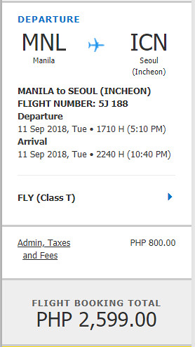 Cebu Pacific Sale Manila to Seoul September 11, 2018