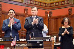 The Ridgefield delegation proudly introduced the Tigers players to their colleagues on the floor of the House of Representatives.