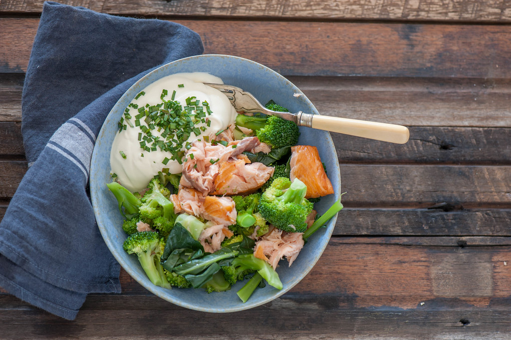 Smoked Trout & Broccoli Bowls w Sour Cream & Chives