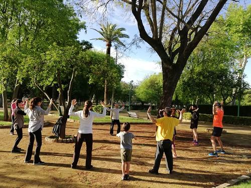 Clase de artes marciales al aire libre por el Día Mundial del tai chi