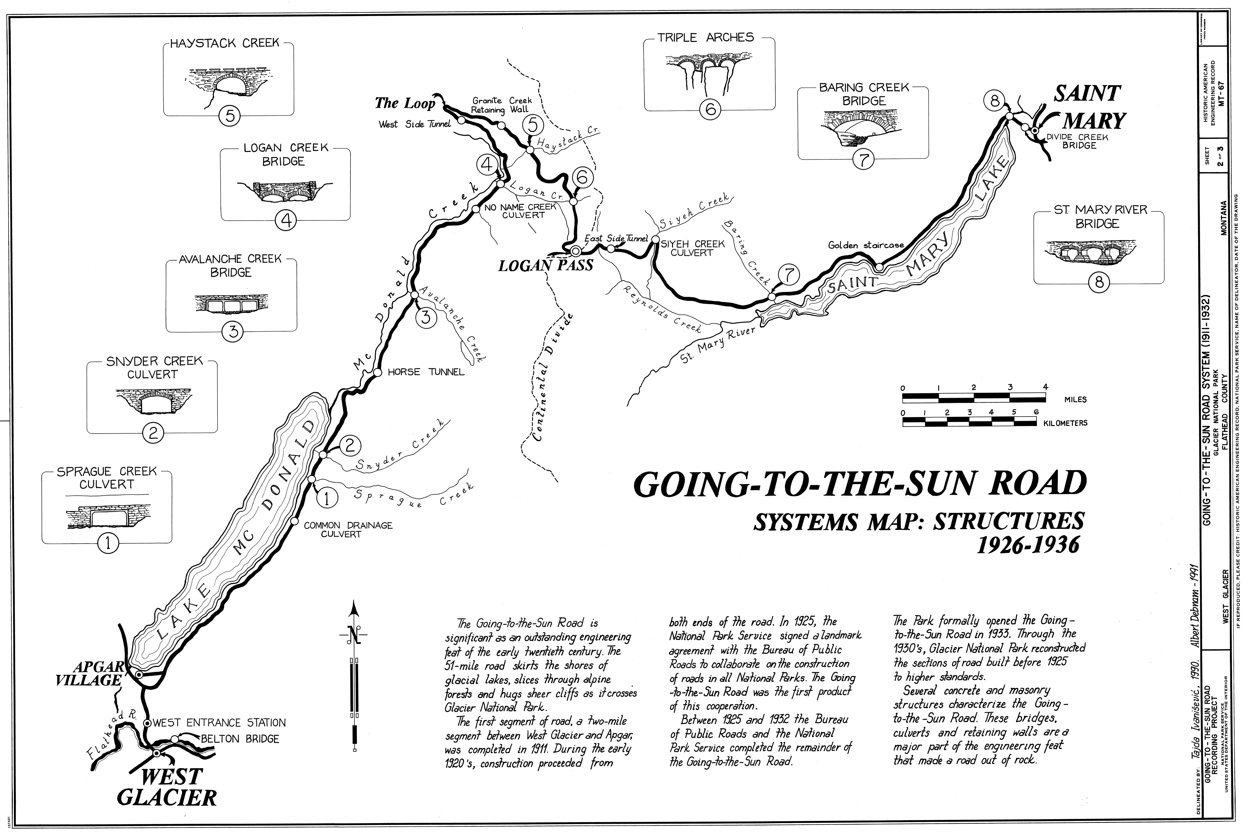 Going-To-The-Sun Road, Glacier National Park, Montana - Systems Map: Structures, 1926-1936