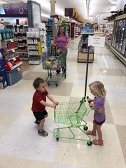 """Madeleine finds and is charmed by a """"customer in training"""" cart at the supermarket today"""