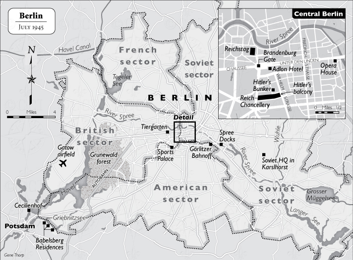 Location of the Reich Chancellery and Führerbunker shown on a July 1945 map of Berlin.
