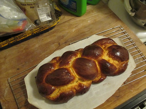 Tangerine challah in a 4 strand braid