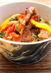 STIR FRIED BEEF AND SPINACH IN CHERRY-PEPPERS SAUCE