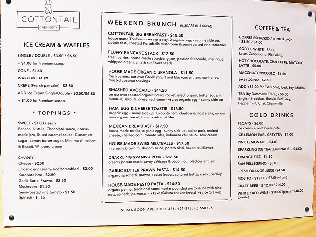 Cottontail Creamery Menu Brunch