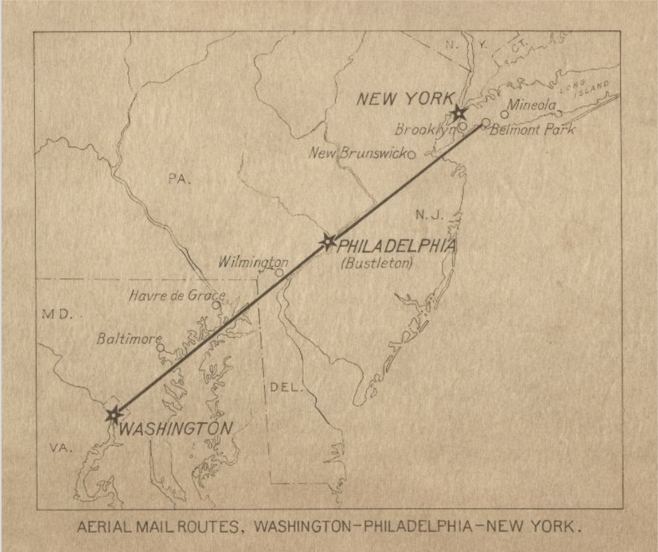 The first regularly scheduled airmail route connected Washington, D.C. and Bew York via Philadelphia from May 15, 1918 to May 31, 1921. The Post Office Department operated the 218-mile route to demonstrate that mail transportation by airplane was possible on a regular schedule in all kinds of weather.