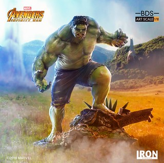 綠色大塊頭,快現身啊~ Iron Studios Battle Diorama 系列《復仇者聯盟3:無限之戰》浩克 Hulk 1/10 比例決鬥場景雕像作品
