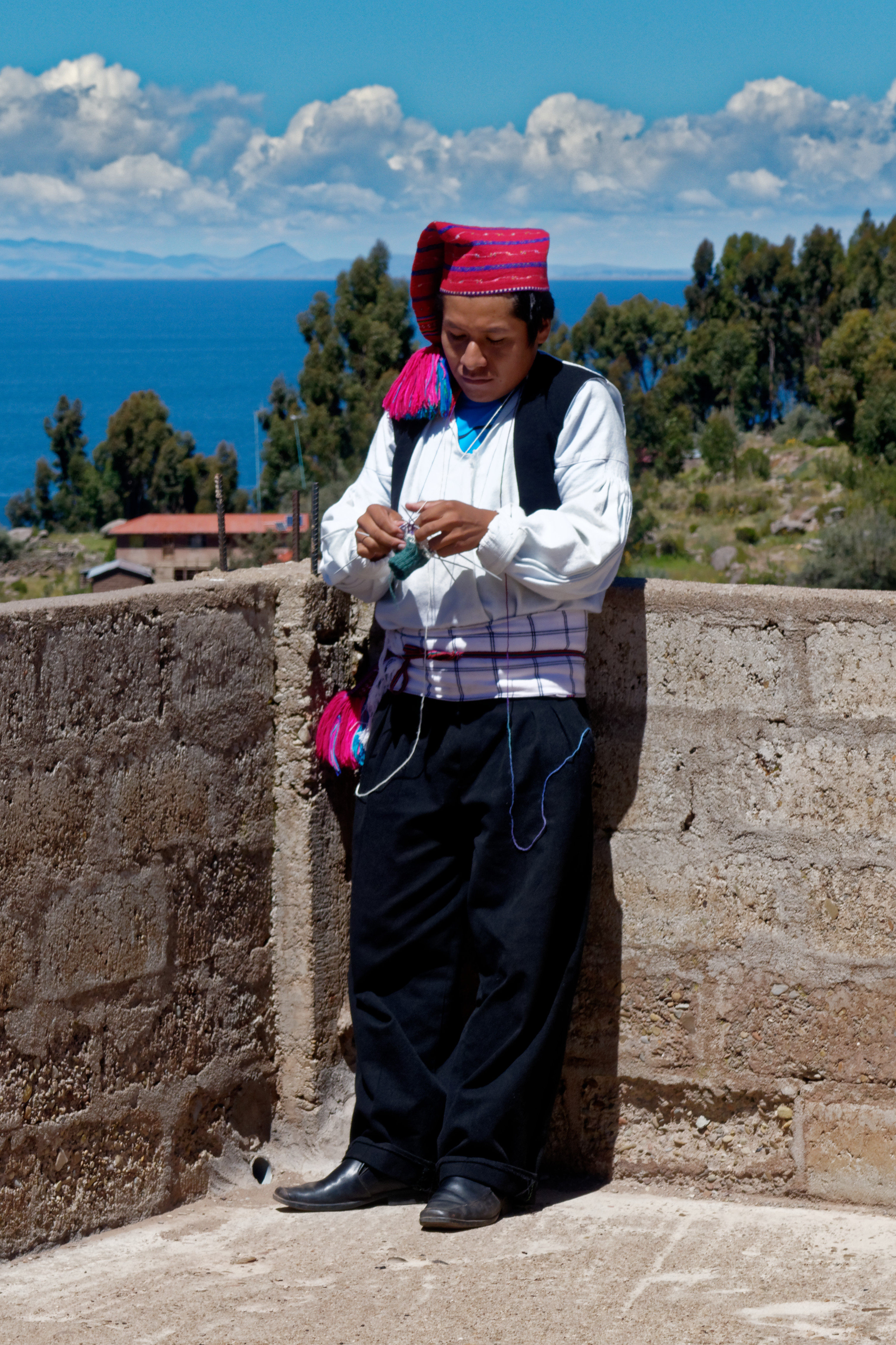 A man knits