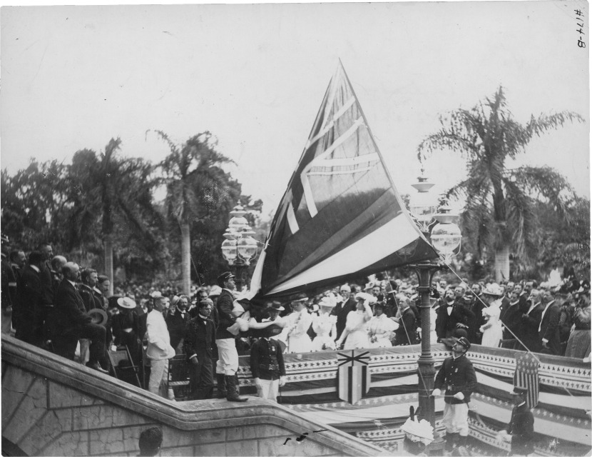 The lowering of the Hawaii flag upon U.S. annexation.