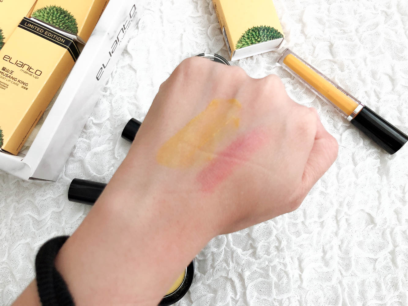 Elianto Musang King lip swatches