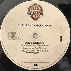 RUFUS AND CHAKA KHAN:AIN'T NOBODY(LABEL SIDE-A)