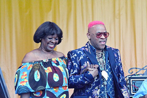 Irma Thomas and Davell Crawford at the Tribute to Fats Domino at Jazz Fest 2018. Photo by Kichea S. Burt.