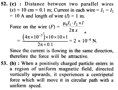 NEET AIPMT Physics Chapter Wise Solutions - Moving Charges and Magnetism explanation 52.53
