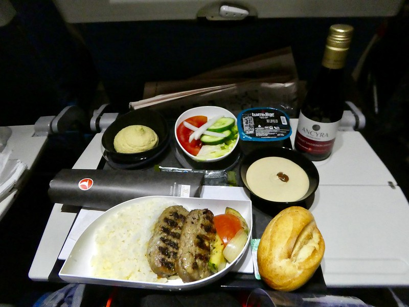 Dinner on board the Turkish Airlines flight from Istanbul to Seoul