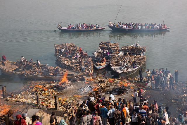 Manikarnika Burning Ghat in Varanasi, India.
