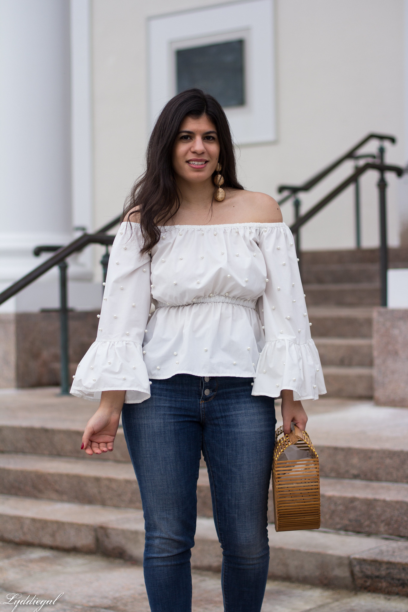off the shoulder pearl embelleshed blouse, distressed denim, bamboo purse-3.jpg
