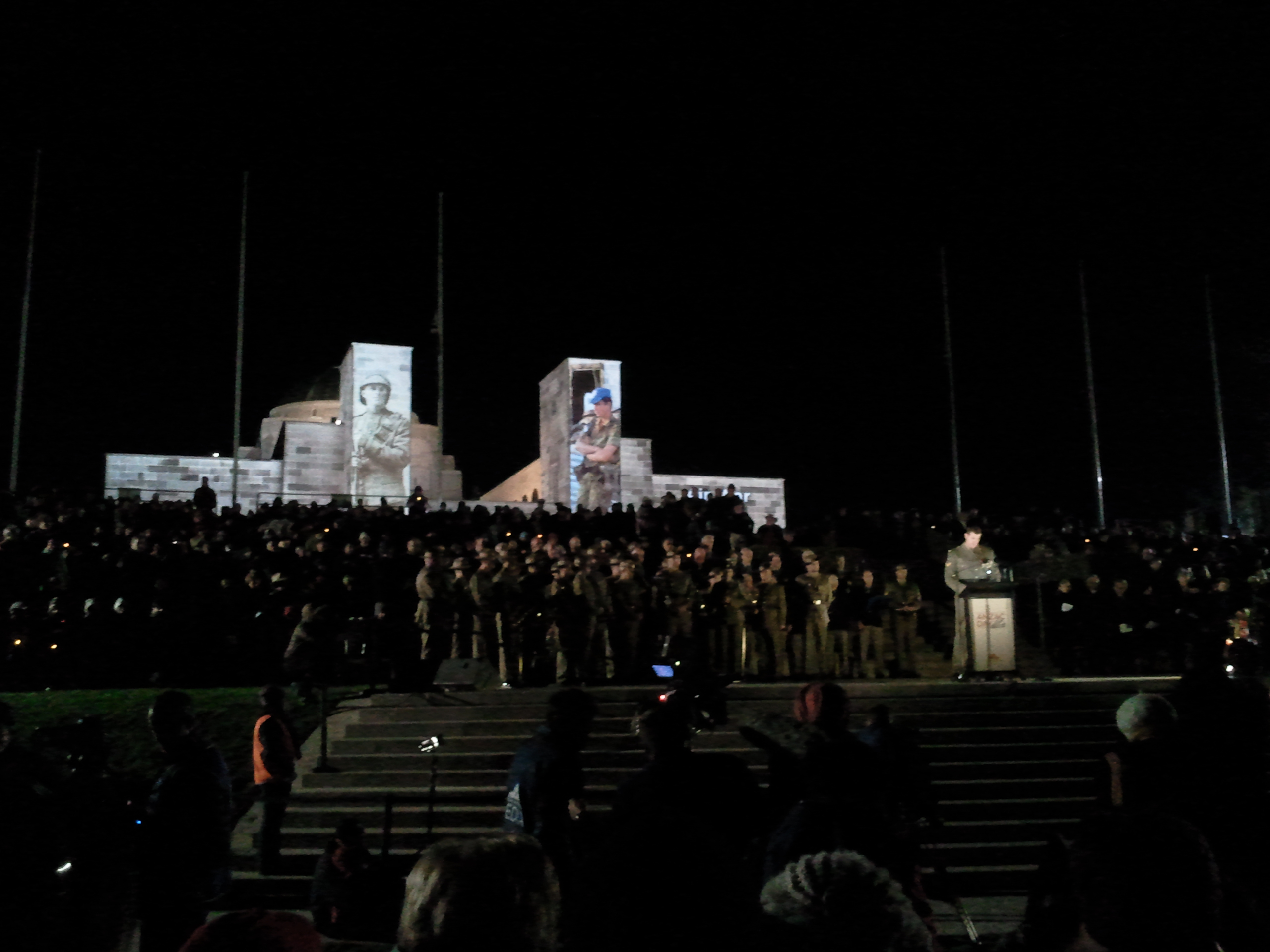 Anzac Day dawn service at the Australian War Memorial in Canberra, Australia, on April 25, 2013. The crowd of around 35,000 people are addressed by Corporal Ben Roberts-Smith VC who is reading stories and anecdotes from Australian service men and women relating to the war in Afghanistan.