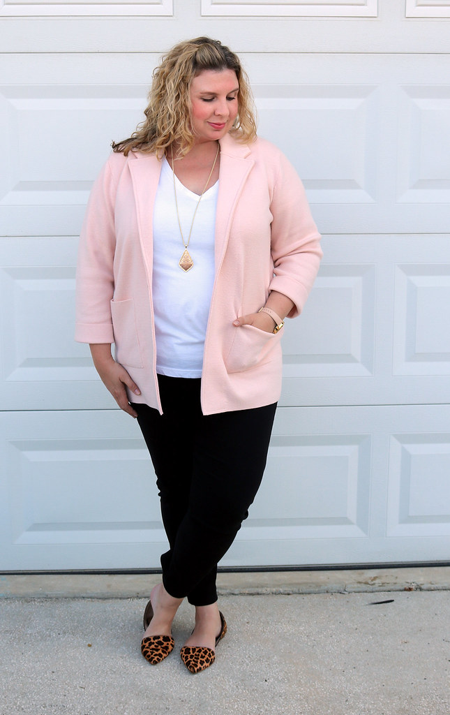 blush sweater cardigan, white tee, black pencil pants, leopard flats 2
