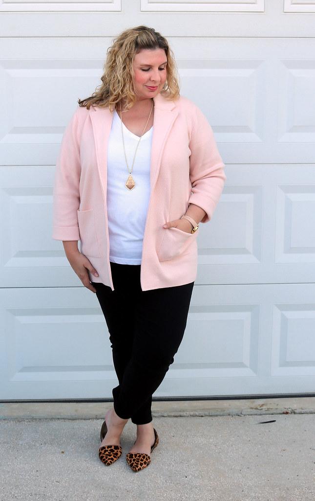 blush sweater cardigan, white tee, black pencil pants, leopard flats 2