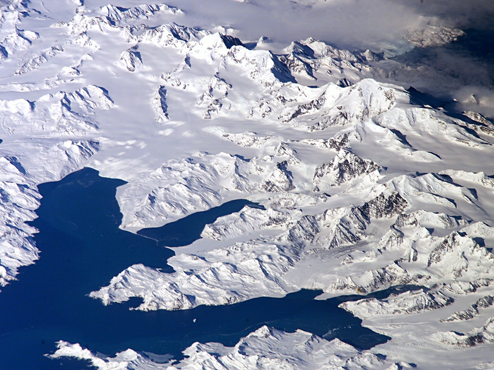 View of Cumberland Bay area, South Georgia Island showing Thatcher Peninsula with King Edward Cove and Grytviken.