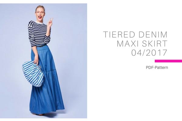 Tiered Denim Maxi Skirt
