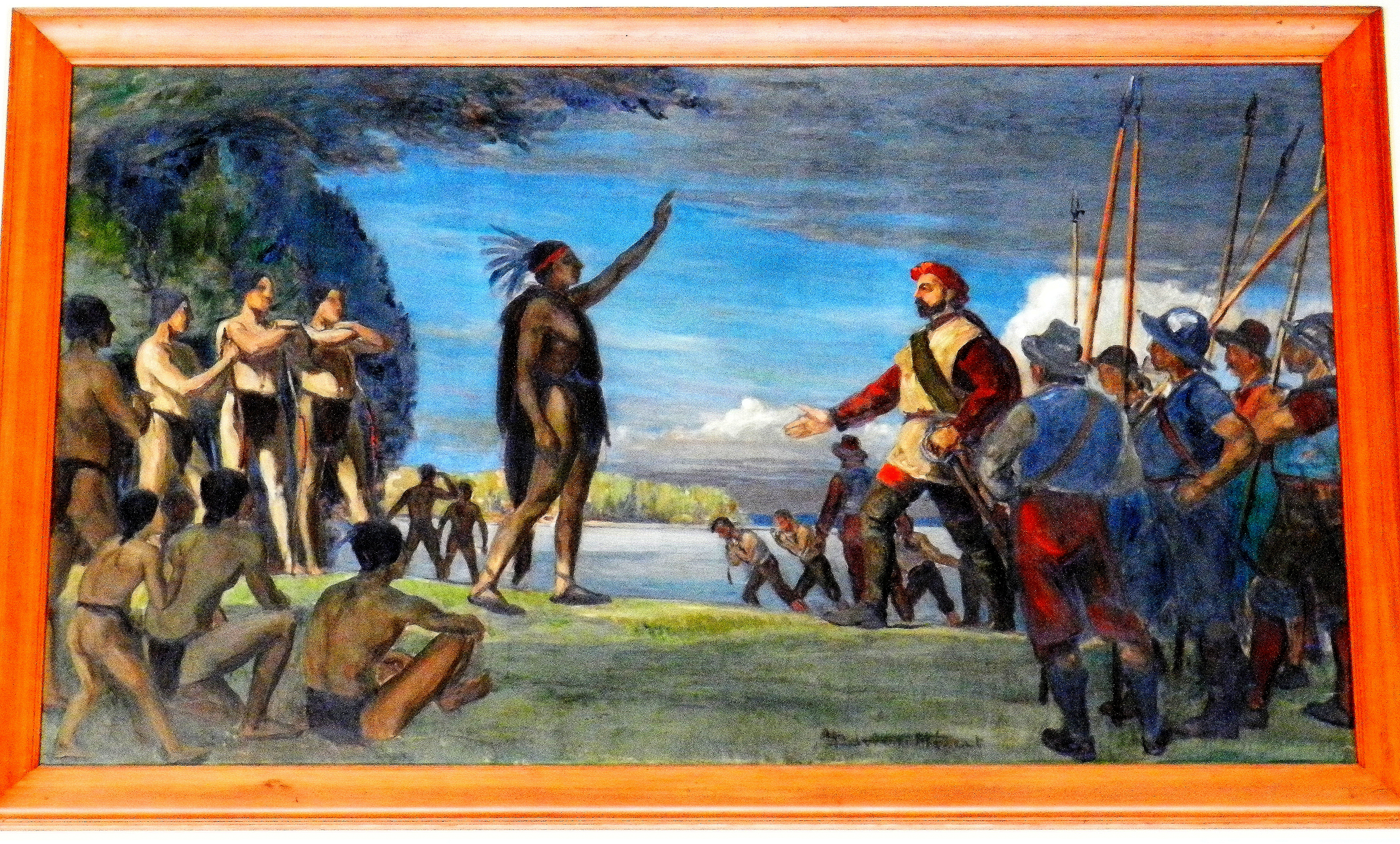 Painting by Adrien Hébert representing Jacques Cartier meeting the Iroquois. The Iroquois chief raises his arm as a sign of welcome, while Cartier responds by raising his own slightly while keeping the other hand on his sword. The painting is currently displayed at Mount Royal Park in Montreal.