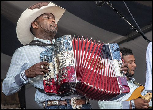 Jeffery Broussard & the Creole Cowboys on Day 7 of Jazz Fest - May 6, 2018. Photo by Marc PoKempner.