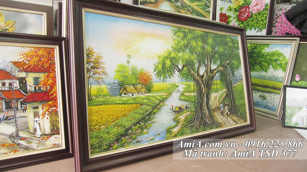 Tranh sơn dầu vẽ phong cảnh làng quê em gốc đa đầu làng