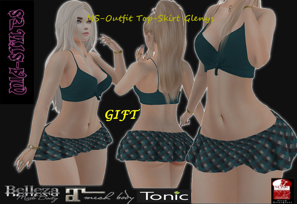 GIFT MS-Outfit Top-Skirt Glenys Blue - TeleportHub.com Live!