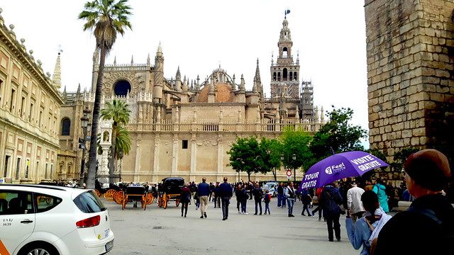The cathedral, giralda, archive de los Indios and alcazar in one place.