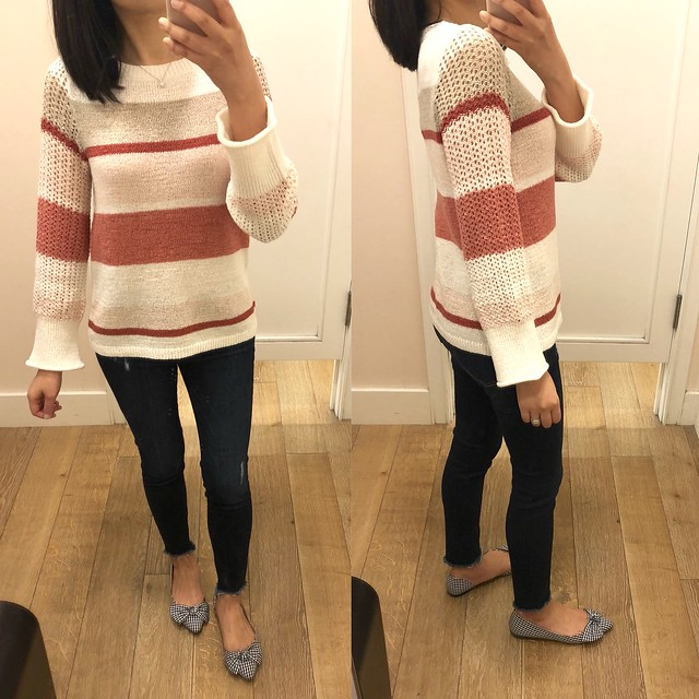 LOFT Striped Stitched Sleeve Sweater, size XXSP